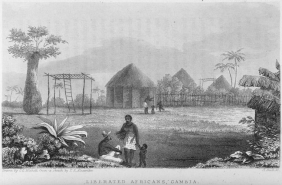 """""""Liberated Africans, Gambia,"""" Excursions in Western Africa, and Narrative of A Campaign in Kaffir-Land, on the Staff of the Commander-in-Chief, 1840.  Source:  Schomburg Center for Research in Black Culture / Manuscripts, Archives and Rare Books Division"""