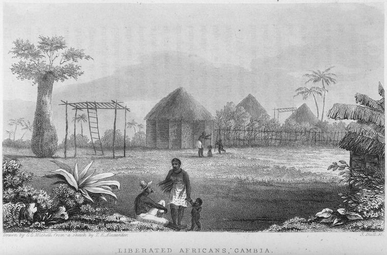 """Liberated Africans, Gambia,"" Excursions in Western Africa, and Narrative of A Campaign in Kaffir-Land, on the Staff of the Commander-in-Chief, 1840.  Source:  Schomburg Center for Research in Black Culture / Manuscripts, Archives and Rare Books Division"