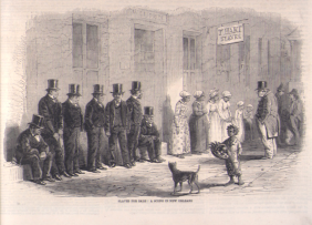 """Slaves Awaiting Sale: A Scene in New Orleans,"" The Illustrated London News (Jan-June, 1861), vol. 38, p. 307 [NW0028] as shown on www.slaveryimages.org, compiled by Jerome Handler and Michael Tuite, and sponsored by the Virginia Foundation for the Humanities and the University of Virginia Library. (Click image for details)"