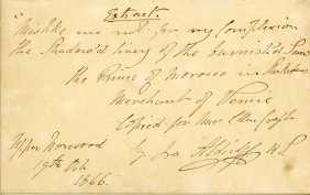 Note from Ira Aldridge to Ellen Craft