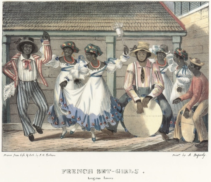 """French Set-Girls,"" in  Isaac Mendes Belisario, Sketches of character, in illustration of the habits, occupation, and costume of the Negro population, in the island of Jamaica: drawn after nature, and in lithography (Kingston, Jamaica: published by the artist, at his residence, 1837-1838). http://hitchcock.itc.virginia.edu/Slavery/detailsKeyword.php?keyword=jamaica&recordCount=100&theRecord=1"