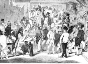Caption: Sale of Slaves at Charleston, South Carolina. In The Illustrated London News (Nov. 29, 1856), vol. 29, p. 555. (Copy in Special Collections Department, University of Virginia Library) as shown on www.slaveryimages.org, compiled by Jerome Handler and Michael Tuite, and sponsored by the Virginia Foundation for the Humanities and the University of Virginia Library. (Click image for details)
