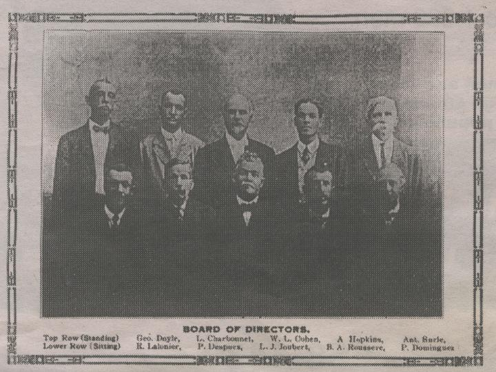 Board of Directors, Couvent School, 1917 Top row (standing): George Doyle, Louis Charbonnet, Walter L. Cohen, Alphonse Hopkins, Antoine Surle Lower Row (seated): Radamis Lalonier, Paul Despues, Louis J. Joubert, Barthelemy A. Rousseve, Paul Dominguez via CreoleGen.com