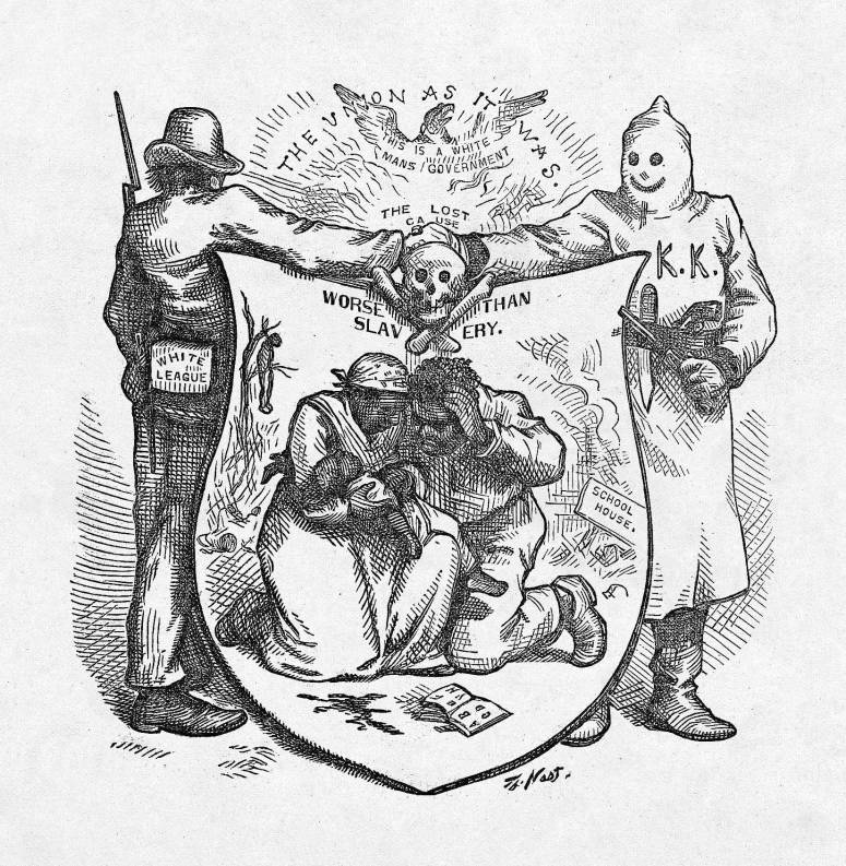 """Worse Than Slavery,"" Harper's Weekly, October 24, 1874, page 878 via http://blackhistory.harpweek.com/7Illustrations/Reconstruction/UnionAsItWasBI.htm"