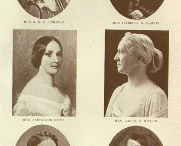 A GROUP OF CONFEDERATE WOMEN. MISS S. B. C. PRESTON. MISS ISABELLA D. MARTIN. MRS. JEFFERSON DAVIS. MRS. LOUISA S. MCCORD. MRS. FRANCIS W. PICKENS. MRS. DAVID R WILLIAMS. As seen in Chesnut, Mary Boykin Miller. Diary from Dixie, as Written by Mary Boykin Chesnut, Wife of James Chesnut, Jr., United States Senator from South Carolina, 1859-1861, and Afterward an Aide to Jefferson Davis and a Brigadier-General in the Confederate Army. New York: D. Appleton and Company, 1905. (Accessed 2015 October 21 on DocSouth - click for item)