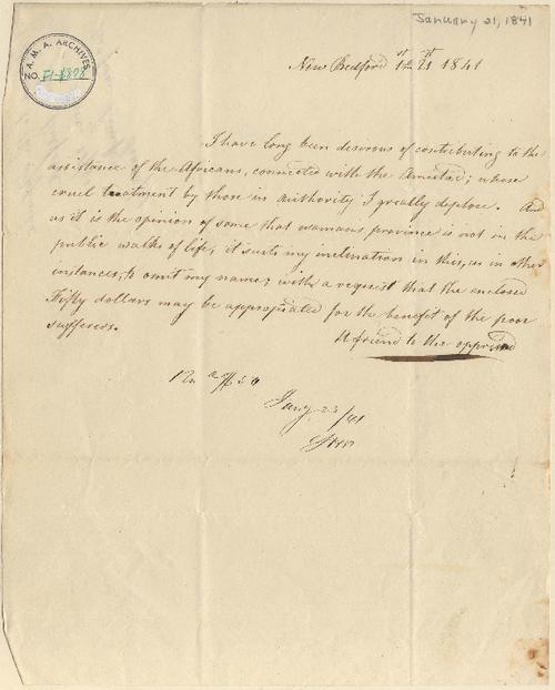 """Letter from """"A friend to the oppressed,"""" January 1841, Amistad Research Center"""