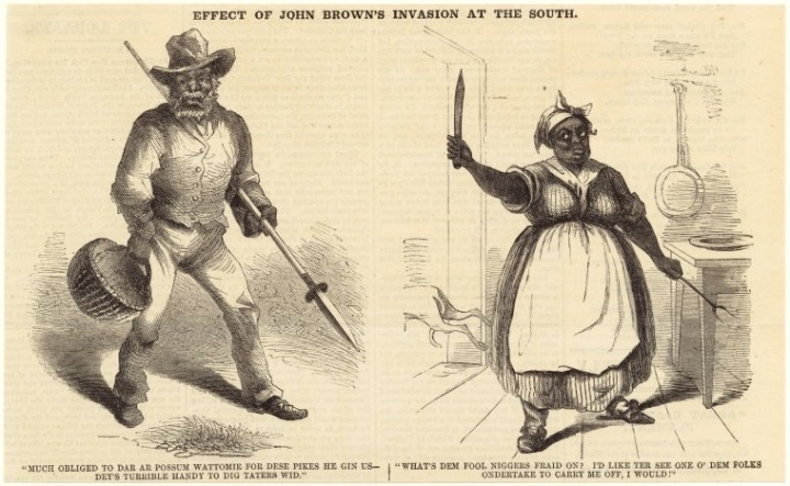 "Art and Picture Collection, The New York Public Library. ""Effect of John Brown's invasion at the South (Nov. 19, 1859)."" New York Public Library Digital Collections. Accessed July 22, 2016. http://digitalcollections.nypl.org/items/510d47e0-fb9f-a3d9-e040-e00a18064a99"