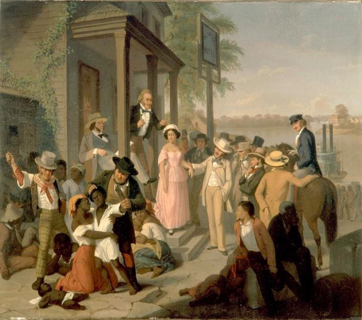 Carnegie Museum of Art, Pittsburgh; Gift of Mrs. W. Fitch Ingersoll [58.4] Slave Market, ca. 1850-1860. Oil on canvas, 29 3/4 x 39 1/2 inches. as seen at Schomburg In Motion http://www.inmotionaame.org/gallery/detail.cfm;jsessionid=f8301904881471088718788?migration=3&topic=99&id=341998&type=image&metadata=show&page=2&bhcp=1